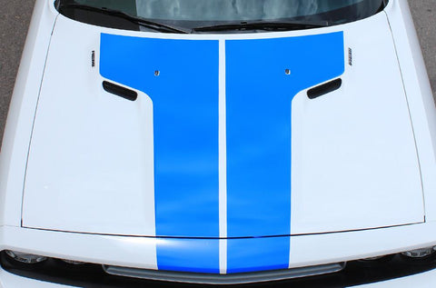 Dodge Challenger Vinyl Hood Stripes (2008-2017) Rally Stripes - RacerX Customs