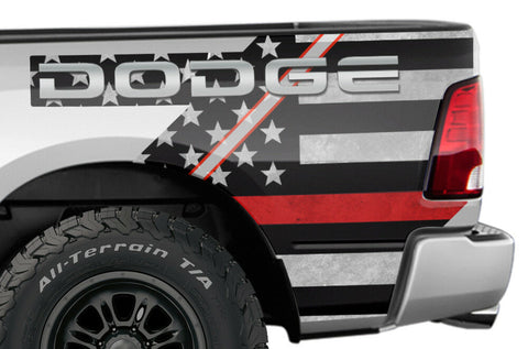 Dodge Ram Quarter Panel Graphics-Wrap Kit - Vinyl (2009-2018) THIN RED LINE - RacerX Customs