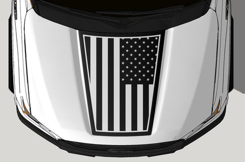 Ford F150 Hood Wrap (2015-2018) Vinyl - American Flag - RacerX Customs