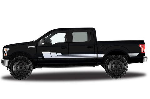 Ford F150 SuperCrew 5.5 Vinyl Stripes (2015-2018) Rally Stripes #3 - RacerX Customs