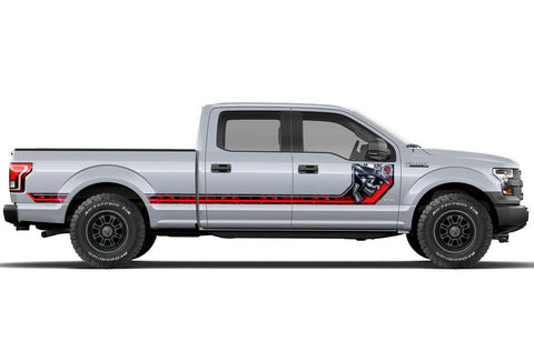 Ford F150 Side Stripe Graphics (2015-2018) HAVOC Red - RacerX Customs