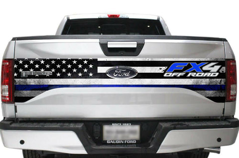 Ford F150 Tailgate Graphics (2015-2018) THIN BLUE LINE w/ FX4 - RacerX Customs