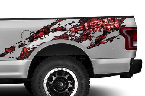 Ford F150 Graphics-Wrap (2015-2018) RED-SKULLS - RacerX Customs