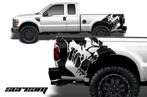 Ford F250 Quarter-Panel Vinyl Wrap (2007-2010) Scream - RacerX Customs