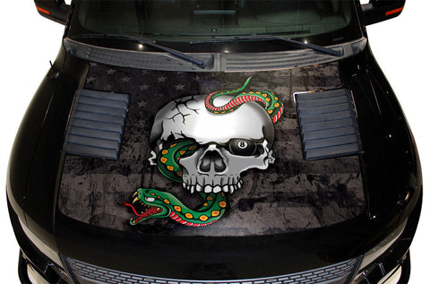 Ford Raptor Hood Graphics Wrap (2010-2014) SNAKE-SKULL w/ Flag - RacerX Customs