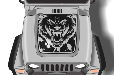 Jeep Wrangler Vinyl Hood Wrap (1999-2006) Wolf - RacerX Customs