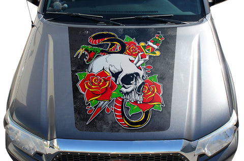 Toyota Tacoma Hood Graphics (2005-2015) SKULL & DAGGER - RacerX Customs