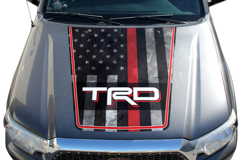 Toyota Tacoma Hood Graphics (2005-2015) THIN RED LINE w/ TRD - RacerX Customs