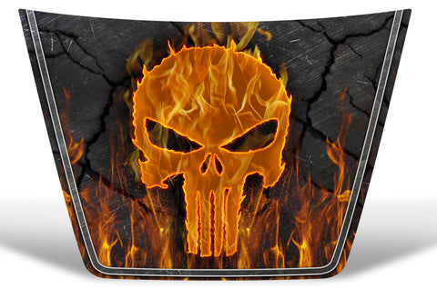Toyota Tundra Hood Graphics (2014-2018) PUNISHER w/ FLAMES - RacerX Customs