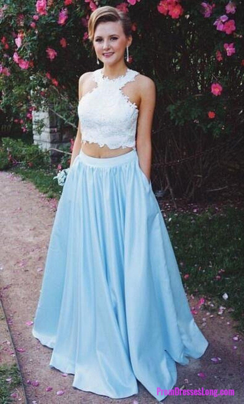 Charming Prom Dress, A Line Two Piece Prom Dresses, Sexy Blue ...