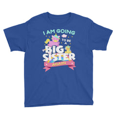 I Am Going To Be A Big Sister Again Youth Short Sleeve T-Shirt