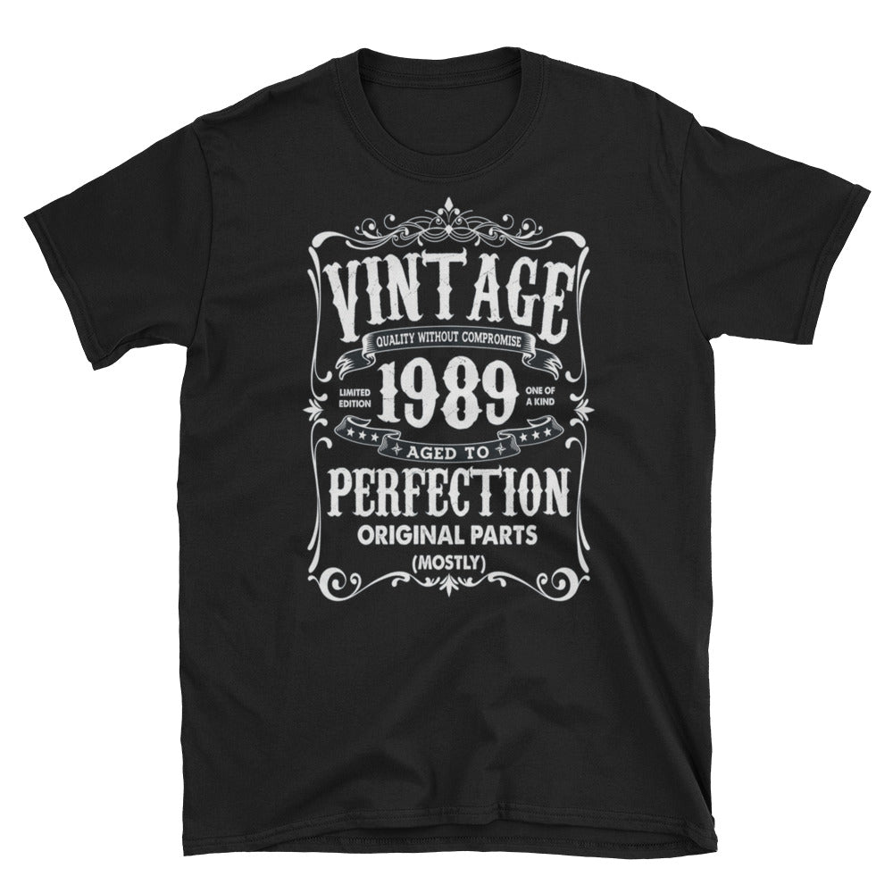 Vintage 1989 Aged To Perfection Short-Sleeve Unisex T-Shirt, Vintage T-shirt