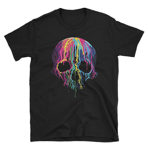 Colorful Melting Skull Art Graphic Halloween