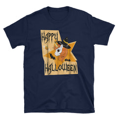 Happy Halloween Unicorn Witch Pumpkin Bat Short-Sleeve Unisex T-Shirt