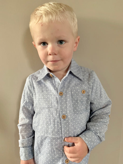 Polka Dot Dress Shirt for Toddler Boys - Two|Three|Four