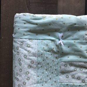 Mint Green and Gold Baby Blanket - Two|Three|Four