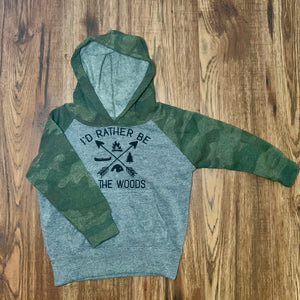 Kids Camouflage Hoodie - I'd Rather Be In The Woods