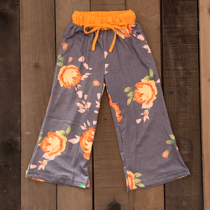 Wide Leg Floral Pants For Toddler Girls - Two|Three|Four