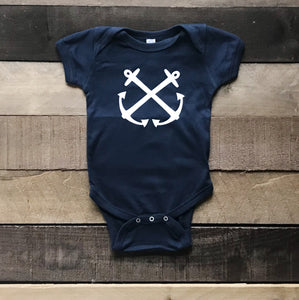 Navy Bodysuit With Anchor For Baby - Two|Three|Four