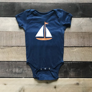 Navy Bodysuit With Sailboat For Baby - Two|Three|Four