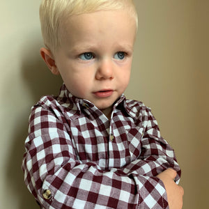 Burgundy and White Button Up Shirt for Toddler Boys - Two|Three|Four