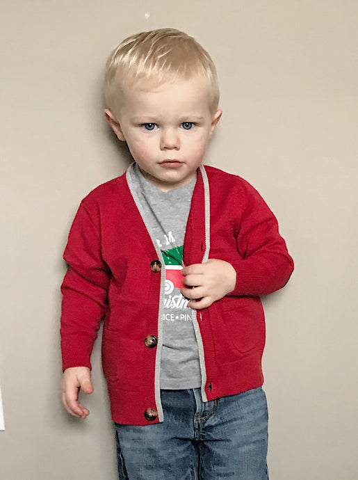 Button Up Cardigan With Elbow Patches for Toddler Boys - Two|Three|Four