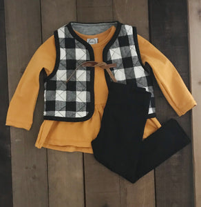 Quilted Buffalo Check Vest - Two|Three|Four