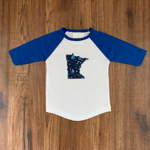 Minnesota Appliqué Raglan Baseball Tee For Toddlers - Two|Three|Four