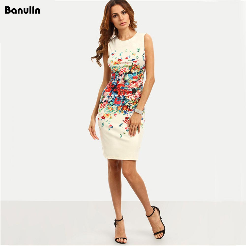Banulin Multicolor Print Bodycon Dress