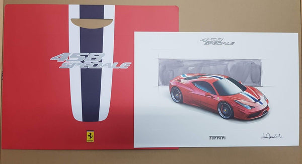 GENUINE FERRARI 458 Speciale Lithograph-Design Sketch-no brochure