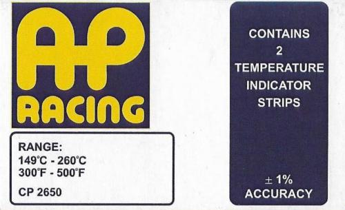 AP Racing Temperature Indication Strips 2x Strips/Pack for all Brembo caliper