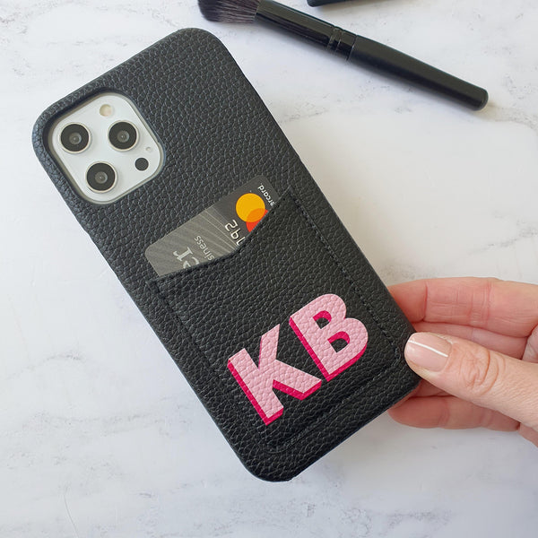Dropshadow Pocket Phone Case in Black / Hot Pink