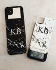 black and white marble phone case