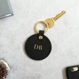 Round Leather Keyring in Black