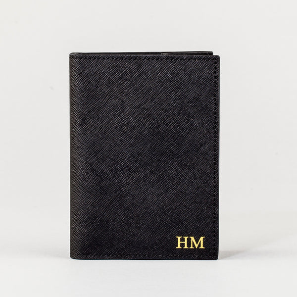 Personalised Saffiano Leather Passport Cover - Black