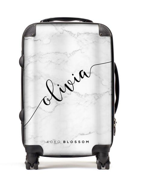 Personalised Suitcase | White Marble with Black