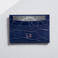 Mock Croc Card Holder in Navy