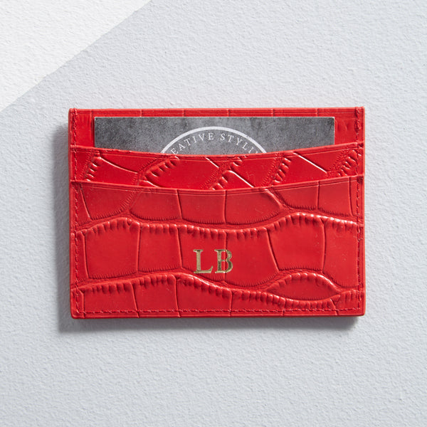 Mock Croc Card Holder in Red