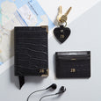 Mock Croc Card Holder in Black