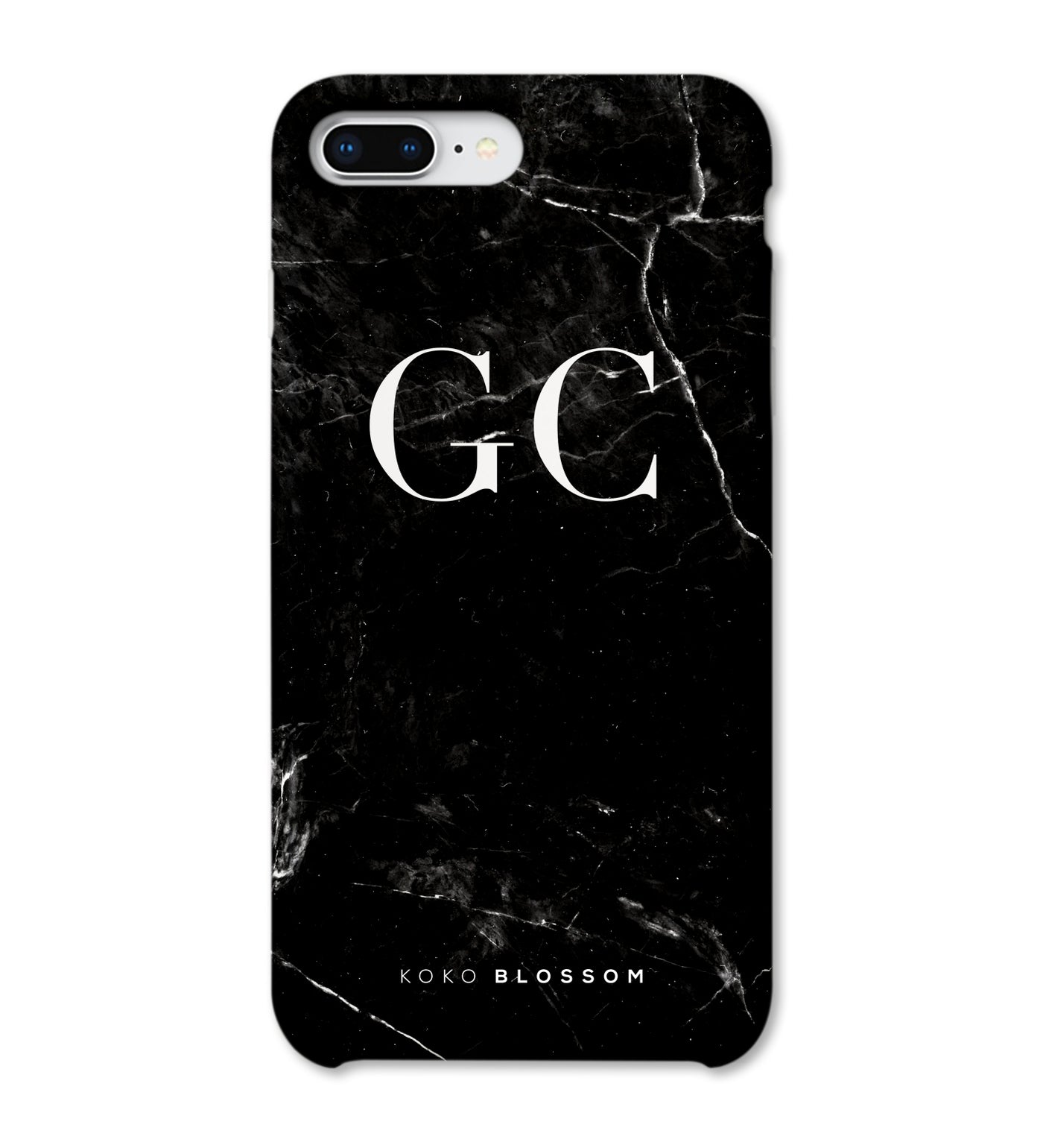 Personalised Phone Case | Black Marble White Initials