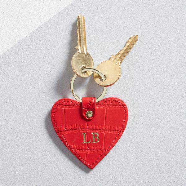 Leather Heart Keyring in Scarlet