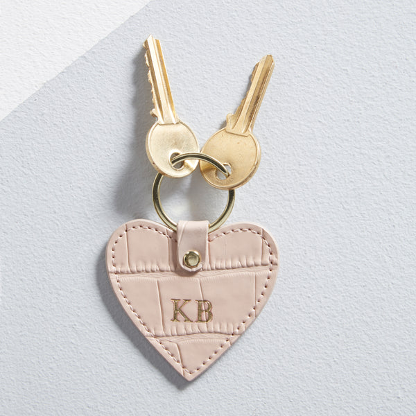 Leather Heart Keyring in Blush
