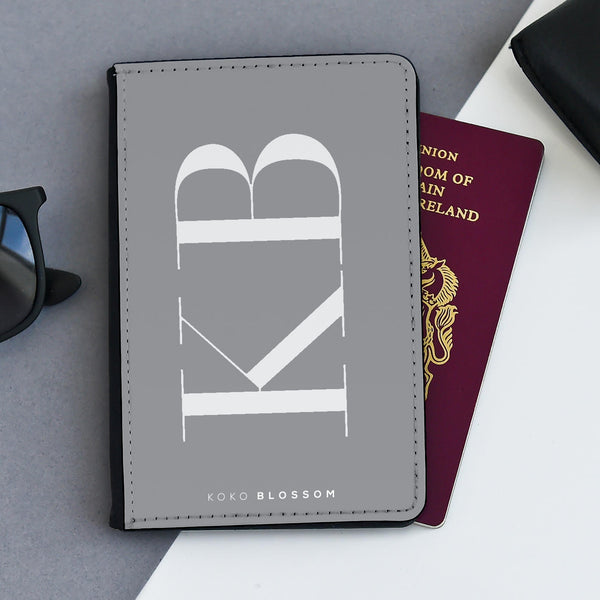 Personalised Passport Holder | Large Initials Grey