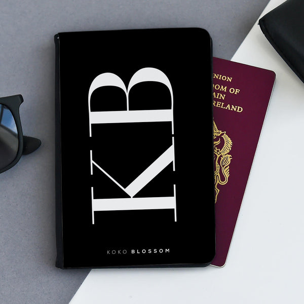 Personalised Passport Holder | Large Initials Black