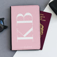 Personalised Passport Holder | Large Initials Pink