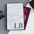 Personalised Passport Holder | White Marble Initials