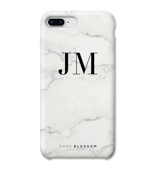 Personalised Phone Case | White Marble Black Initials