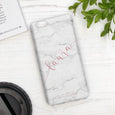 Personalised Phone Case | White Marble Blush Handwriting
