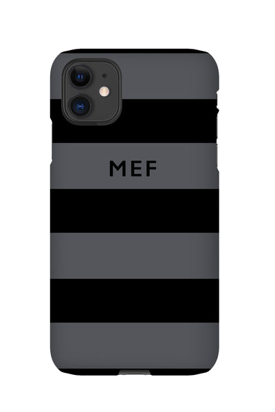Personalised Striped Phone Case | Grey & Black