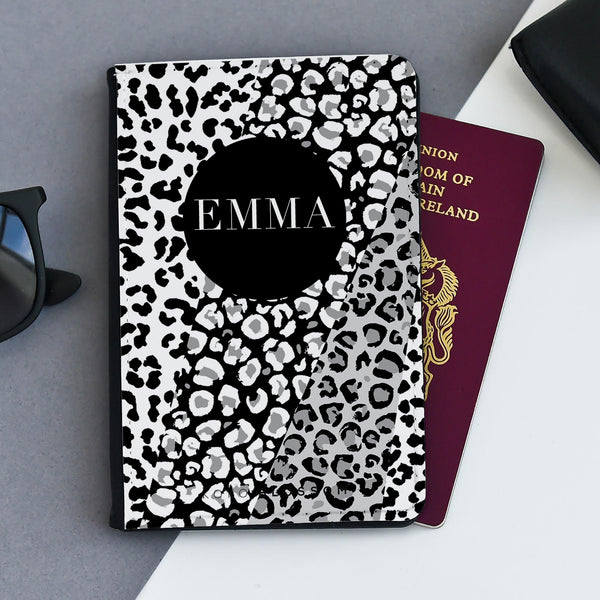 Personalised Passport Holder | Monochrome Leopard